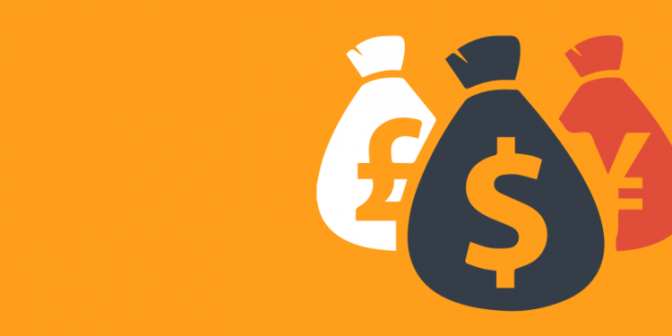 Icon of bags of cash on an orange background