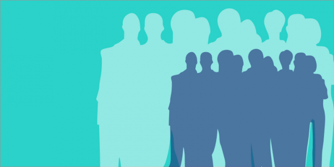 Icon of a group of people against a pale blue background