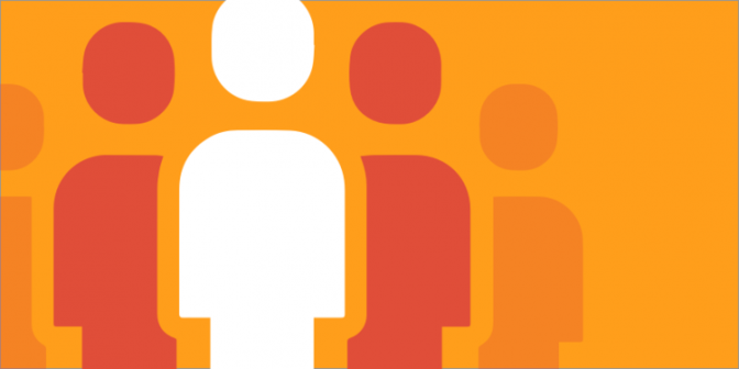 Icon of a group of people against an orange background