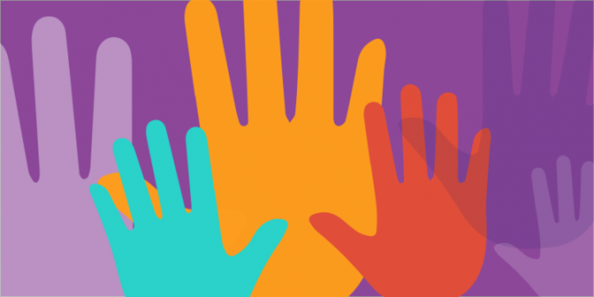 icons of colourful hands on a purple bg
