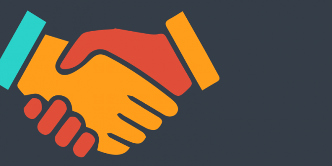 Icon of a handshake on a grey background