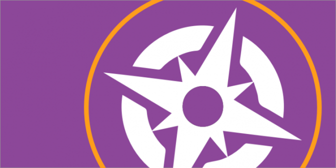 Icon of a white compass against a purple background