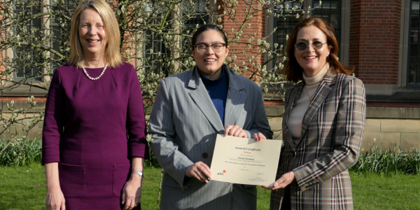 Sarah Hashmi, University of Birmingham - Winner of Round C, with Professor Kathy Armour, (left) and Sally Jeffrey (right)